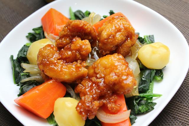 タレ漬け唐揚げと野菜
