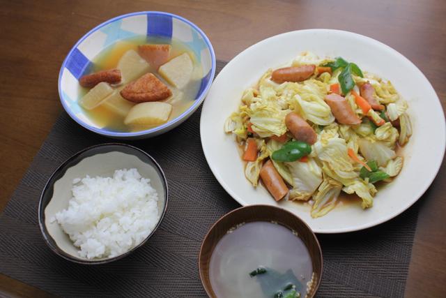 ソーセージの辛子肉野菜炒め、さつま揚げと大根の煮物