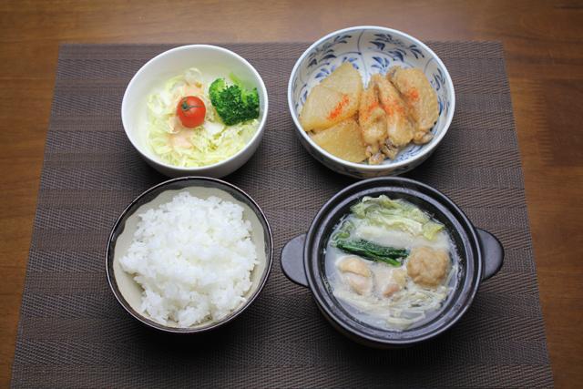 手羽中と大根の煮物、ミニ鶏鍋