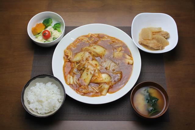 麻婆白菜、手羽中と大根の煮物