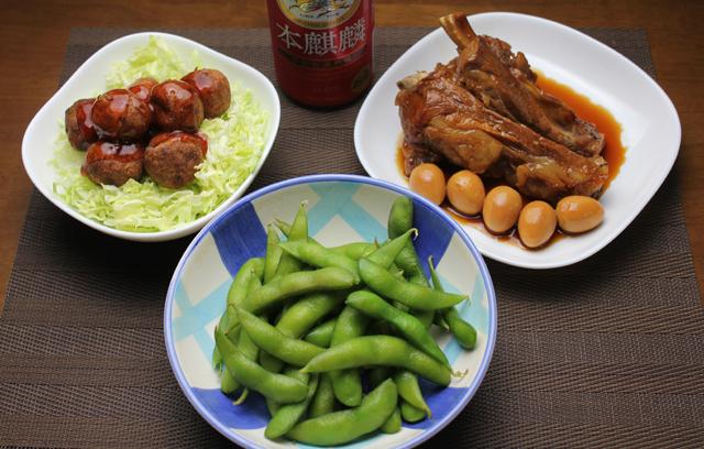 豚スペアリブの角煮、揚げ肉団子、枝豆
