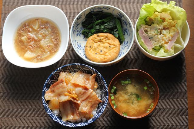 ミニ豚丼とお惣菜