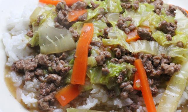 ひき肉と白菜のあんかけご飯