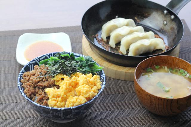 ミニ三色丼と餃子