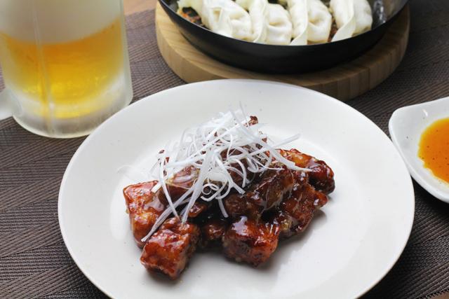 黒酢酢豚と餃子