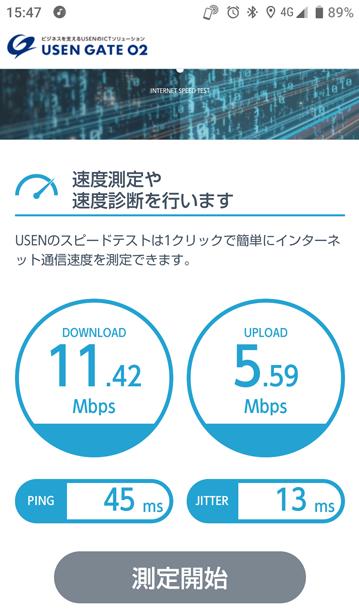 携帯4Gの速度