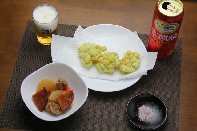 枝豆の天ぷらと鶏大根