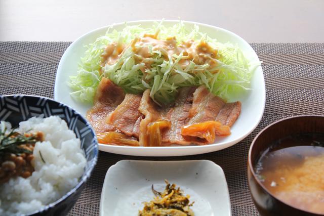 煮豚と納豆