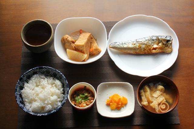 鯖の塩焼きと煮物