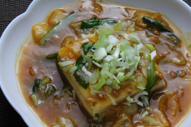 豆腐の麻婆白菜かけ