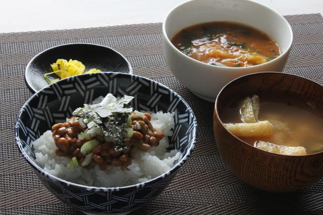 納豆と麻婆白菜