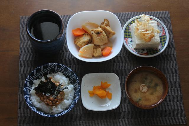 ガンモと大根の煮物/納豆