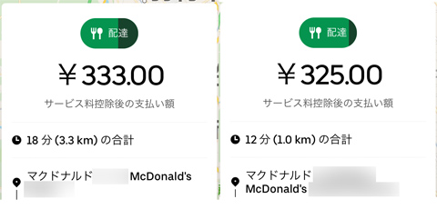 UberEats単価格差