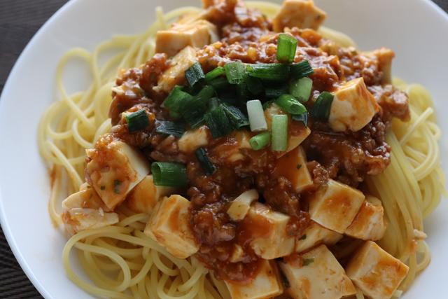 麻婆豆腐スパゲッティ