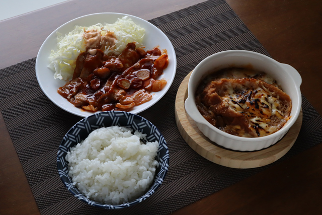 トンテキとオニオングラタンスープ