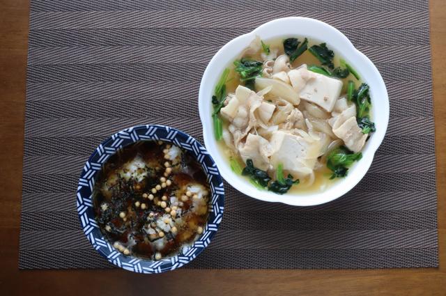 肉豆腐と烏龍茶漬け